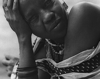 Africa Photography, Masai, Mother, Tanzania, Tribal, Ethnic, Matriarch, Feminine, Powerful, 8x10 Black and White Fine Art Photographic Print