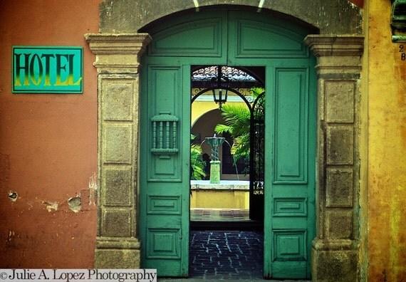 Color Fine Art Photography, Green, Doorway, Hotel, Guatemala, Yellow, Orange, Relaxation, Serenity, 8x10
