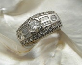 diamond ring in 14k white gold -- handmade by Ravens' Refuge -- ready to ship