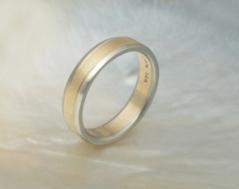 handmade two tone wedding band with beveled edges, satin finish
