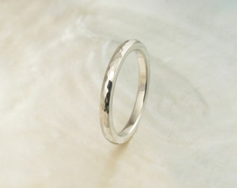 handmade wedding band -- 2mm hammered platinum ring, comfort fit