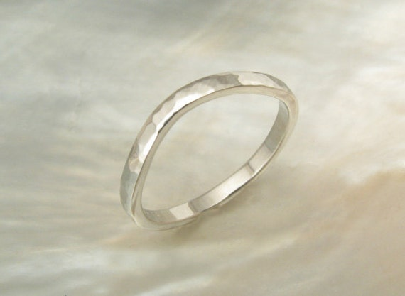 2mm Curved Platinum Wedding Ring Hand Forged Hammered