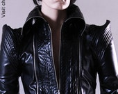 Black Biker Jacket Vegan Leather & Genuine Leather option CHRISST