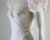 Cream Lace Wrap Dress Custom Fabrics Custom listing Bridal Wedding Victorian Kawaii  Chrisst X Dress SPECIAL ETSY PRICE