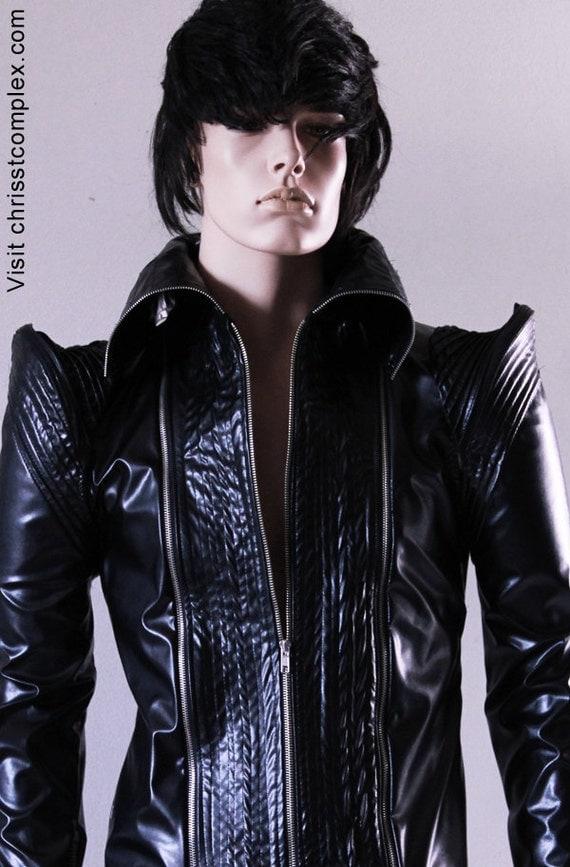 Black Biker Jacket Vegan Leather & Genuine Leather option - CHRISST