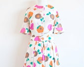 Vintage 1960s dress / floral silk / 60s shirtwaist dress