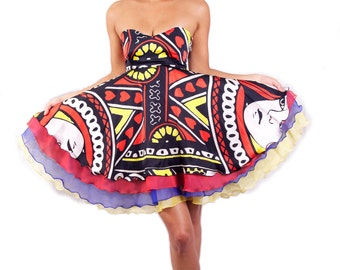 Wonderland 'Queen of Hearts' Playing Card Printed silk and chiffon layered dress *Limited Edition