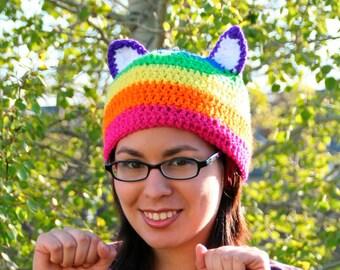 Rainbow Kitty Hat - Adult/Teen Size