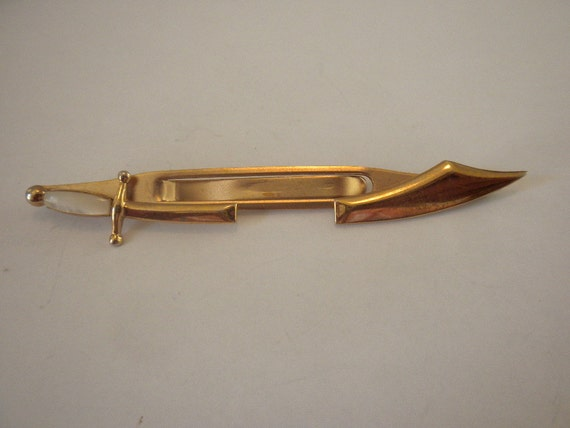 Vintage Signed Swank Sword Tie Clip Mad Men FREE shipping in US