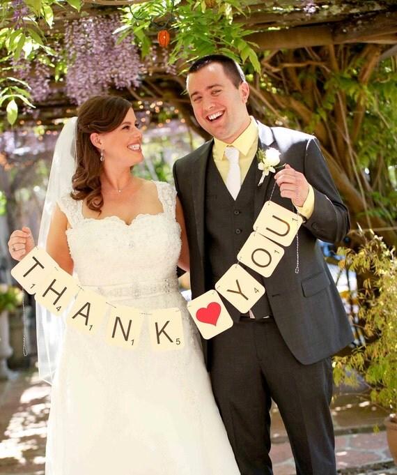 SCRABBLE Thank You Banner, Wedding Garland, Photo Prop