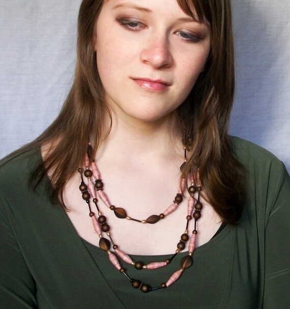 Pink and Brown Statement Necklace - Paper bead necklace - Eco friendly, lightweight, hand rolled - FREE SHIPPING
