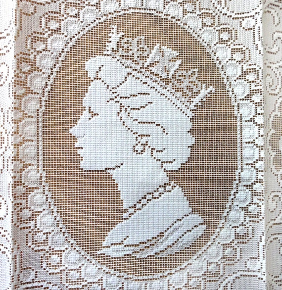 Vintage Queen Elizabeth Souvenir Lace Panel Coronation Silver Jubilee