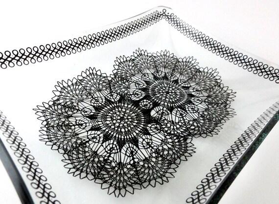 Vintage  Black Lace Dish Chance Glass