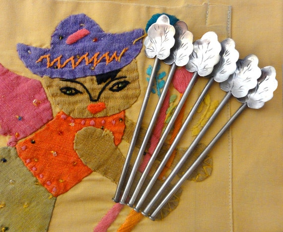 Vintage Sterling Silver Iced Tea Stirring Spoon Straw Set Mexico 925