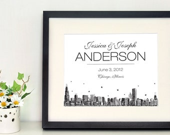 Chicago Skyline 8 x10 inch wall art; gift for newlyweds, frame the date of your wedding, newborn, or any special occasion