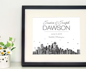 "Seattle skyline 5 x 7"" or 8 x 10"" personalized wall art, gifts for newlyweds, city skyline"