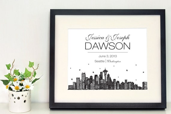 """Seattle skyline 5 x 7"""" or 8 x 10"""" personalized wall art, gifts for newlyweds, city skyline"""