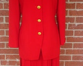 Vintage Christian Dior Red Wool Suit Skirt Sz 6