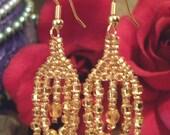 Beaded Dangle Chandelier Loop Sort of Like a Hoop Earrings for Women Simple Fun Gift Ideas for Her in Womens Beadwork Fashion