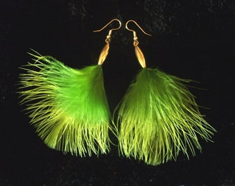 USA Green Feather Earrings in Vintage Gold