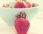 strawberry print, red kitchen decor, strawberry photo, photograph, sweet fruit, nursery art, pastel blue, dessert, dining room art, summer