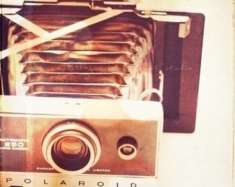 camera photograph, trigger happy, vintage polaroid 250 nostalgia childhood memories, photographers, grungy dark coffee brown, for him
