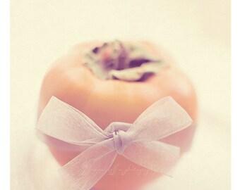 persimmon photograph, still life photograph, kitchen print, food photography, pastel decor coral orange yellow, baking, cook, cafe art