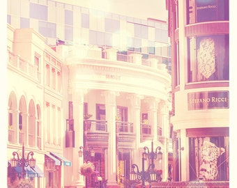 Beverly Hills photo, Shopping on Rodeo Drive Los Angeles photograph, Versace fashion California, celebrity, pink girls room, art print