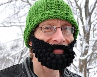 Beard for a Beanie Hat, Adult Medium, Black, Fear the Beard