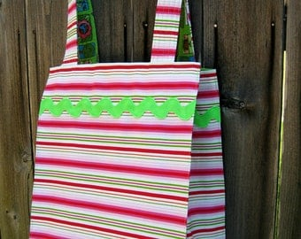 Farmer's Market Tote - Hot Pink and Lime Green Stripes Fully Lined Fabric Washable Reusable Eco-Friendly and FUN