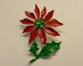 Vintage Christmas poinsettia enamel flower brooch pin