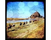 France, Normandy, Brittany, Travel , Europe, Horsemen of Mont Saint-Michel, Unmatted 8x8 TTV-inspired Fine Art Print