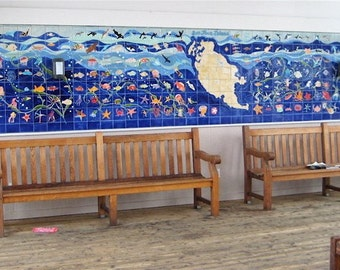 Tile Mural Commemorative Indoor Outdoor Port of Friday Harbor Dock House