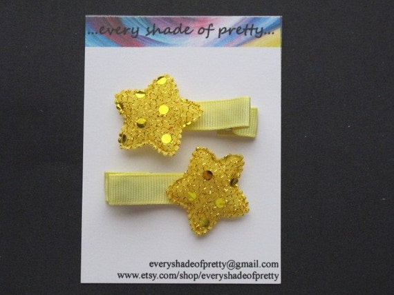 Yellow Sequin Star Hair Clips--Toddler clips--Girl Hairclips