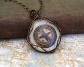 Compass Necklace of wire wrapped glass to keep you pointed in the right direction - made to order