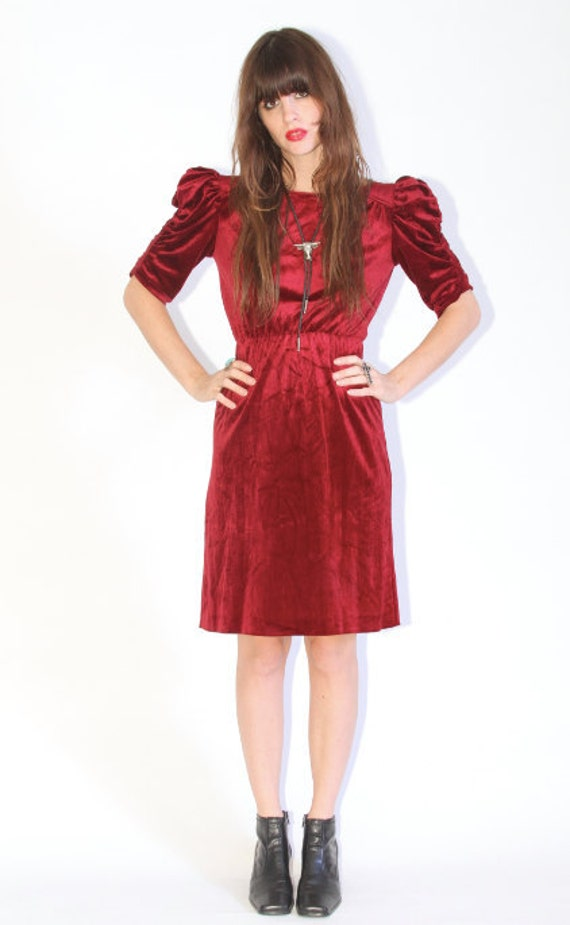 Red velvet dress with puff sleeves