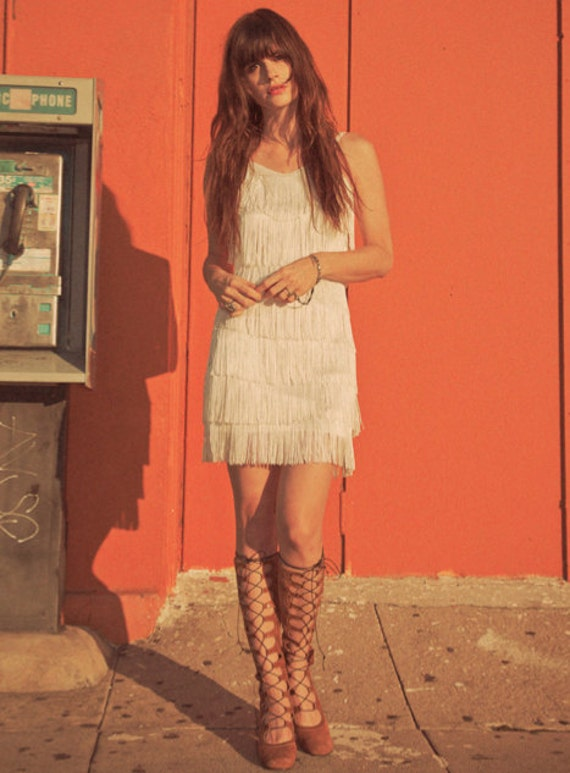 White fringe dress