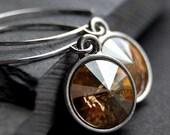 CLEARANCE / SALE - Golden Shadow Crystal Earrings, Champagne Swarovski Crystal Rivoli Briolette Drops, Sterling Silver Earwires