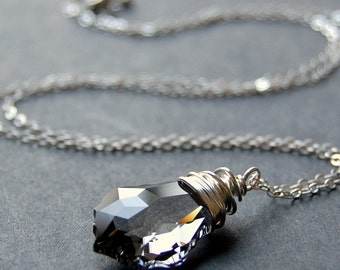 Gray Crystal Necklace, Black Diamond Swarovski Crystal Wire Wrapped Baroque Pendant, Sterling Silver Cable Chain, Smokey, Charcoal, Dark