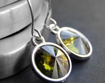 CLEARANCE / SALE - Green Crystal Earrings, Olive Green Swarovski Crystal Rivoli Drops on Handmade Sterling Silver Earwires