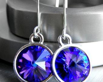 Swarovski Rivoli Earrings, Purple Earrings, Heliotrope Purple Blue Swarovski Crystal Drops, Sterling Silver Earwires, Ultraviolet, Circle