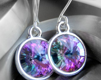 Swarovski Crystal Earrings, Purple, Pink, Green Vitrail Light Crystal Rivoli, Sterling Silver Earwires