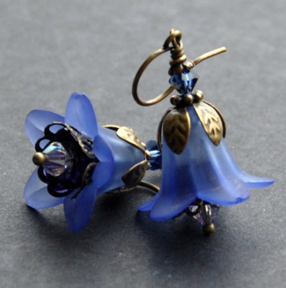 Blue Flower Earrings, Vintage Style, Dark Blue Lily Lucite Flowers, Antique Brass, and Swarovski Crystal
