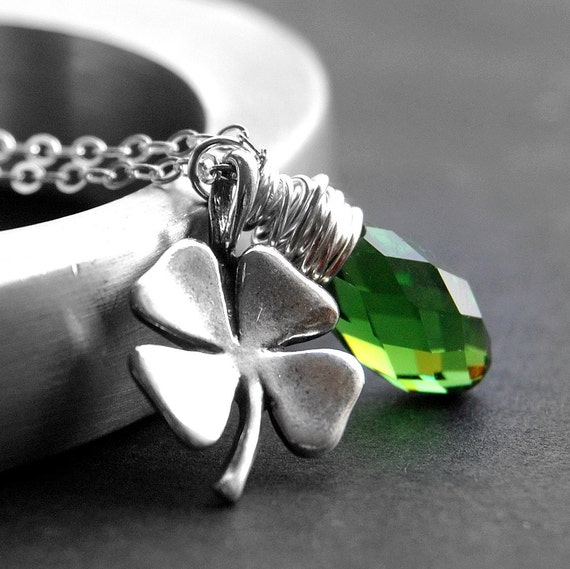 Shamrock Necklace, Green Swarovski Crystal Wire Wrapped Teardrop Pendant, Sterling Silver Four Leaf Clover Charm, Shamrock Jewelry, Irish