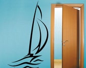 Wall decals ABSTRACT SAILBOAT large wall art stickers by Decals Murals (49x83)