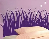 Vinyl decal headboard GRASS WITH ANTS Wall art decor stickers by Decals Murals (twin bed)