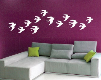 Wall decals FLOCK OF BIRDS swallow wall art stickers by Decals Murals