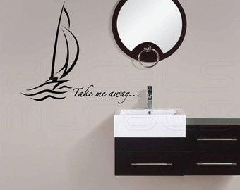 Wall decals ABSTRACT SAILBOAT Take me away wall stickers by Decals Murals 12x22