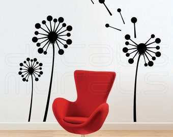 Wall decals GEOMETRIC DANDELIONS Vinyl art decor stickers by Decals Murals