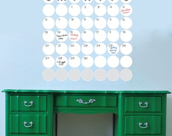 Dry erase POLKA DOTS MONTHLY Calendar - Wall decal office interior decor by Decals Murals (25x25)
